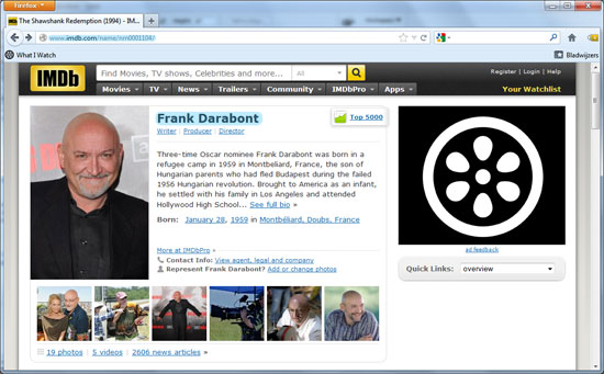 Screenshot IMDb regisseur